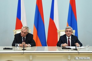 RA President Serzh Sargsyan and President of the Czech Republic Milos Zeman speak with journalist and make an announcement during the press conference at the RA Presidential Residence in Yerevan, Armenia